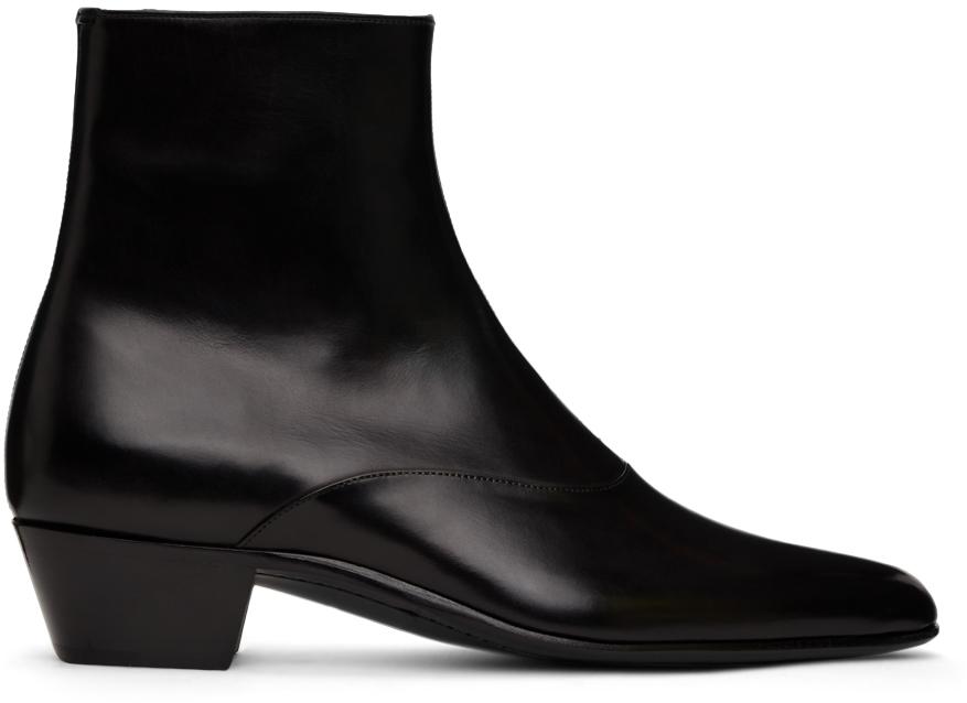 Saint Laurent 黑色 Franz 拉链踝靴