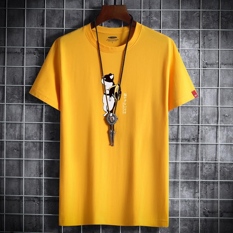 M-5XL夏季寬鬆純棉短袖T恤男 日系可愛背包貓咪印花圓領短t 百搭休閒大尺碼t恤 學生班服 打底衫 正韓上衣 男生衣著