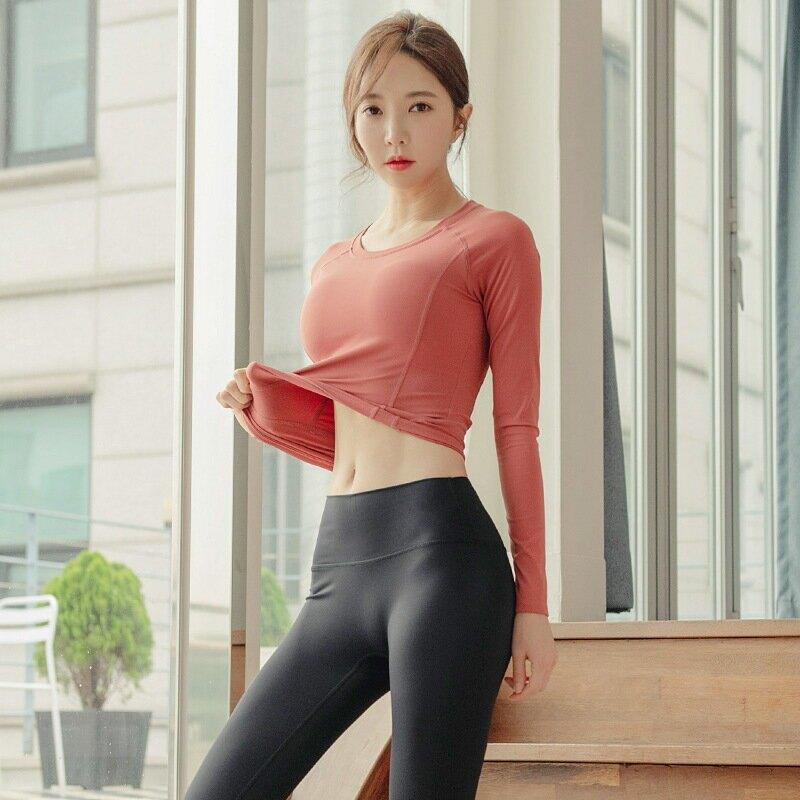2021秋冬瑜伽服女lulu長袖速乾t恤跑步運動衣女健身服女緊身衣女