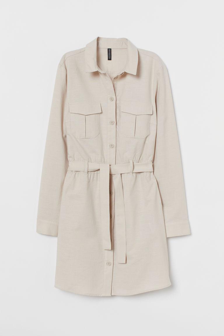 H & M - 棉質工作洋裝 - 米黃色