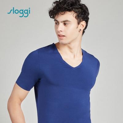 sloggi men ZERO Feel 零感系列短袖內著上衣 紳士藍 Y90-445 B9