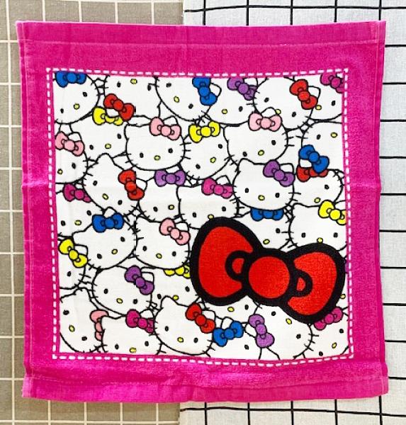 【震撼精品百貨】Hello Kitty 凱蒂貓~日本三麗鷗 KITTY中毛巾/方巾-滿版桃#54534