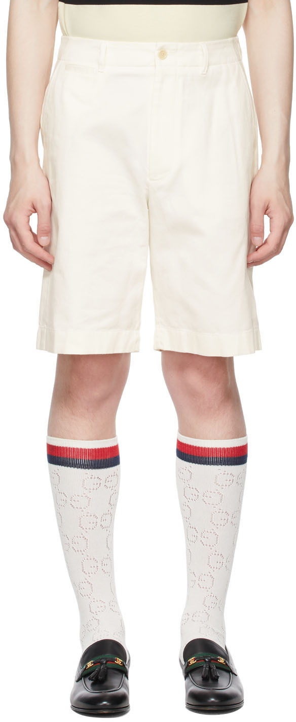 Gucci 灰白色厚斜纹布短裤