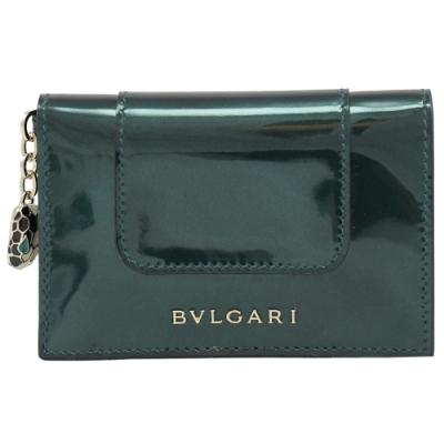 BVLGARI 經典蛇頭金屬漆皮撞色對開隨身卡夾(深綠)