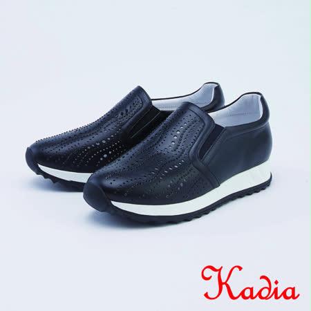 kadia.真皮洞洞點綴細鑽休閒鞋(1023-90黑色)