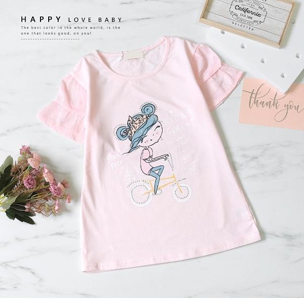 大童 甜美貼鑽腳踏車短T 春夏童裝 女童棉T 女童上衣 女童短袖 女童T恤