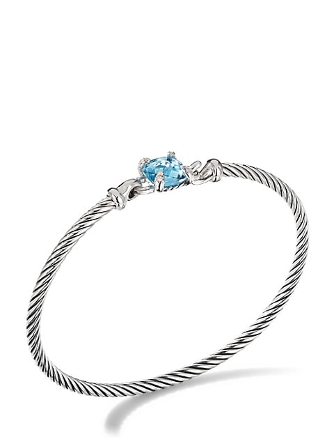 Chatelaine® Bracelet in Sterling Silver With Diamonds & Gemstone