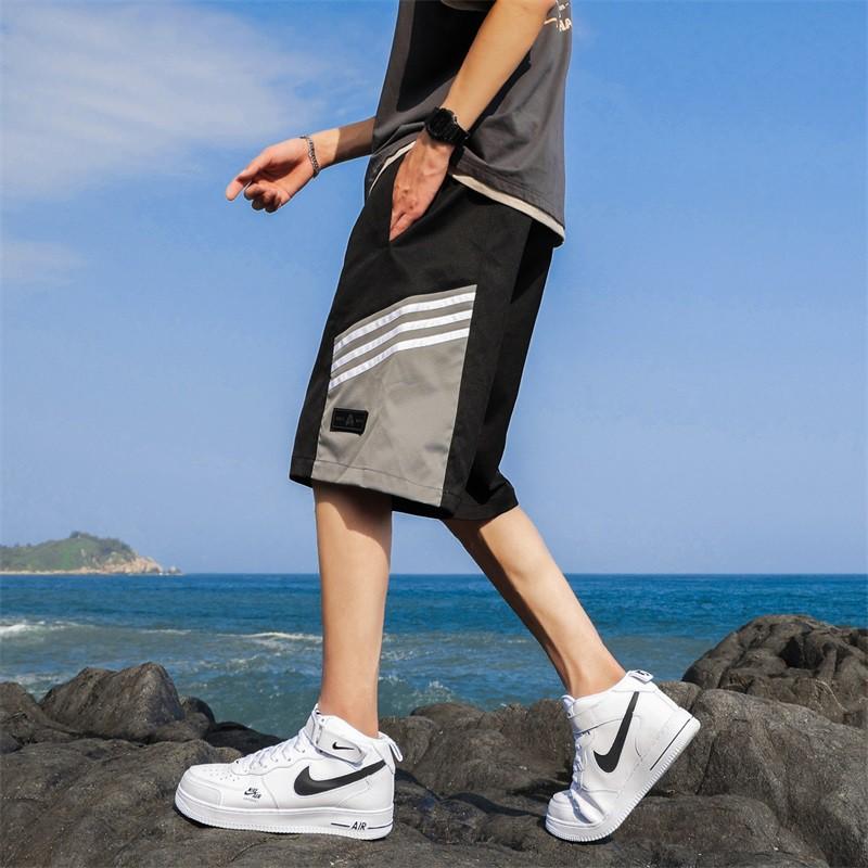 TAIJI.三線撞色拼接鬆緊抽繩休閒短褲【2色‧28~40‧加大尺碼】【NTJBLXF03】