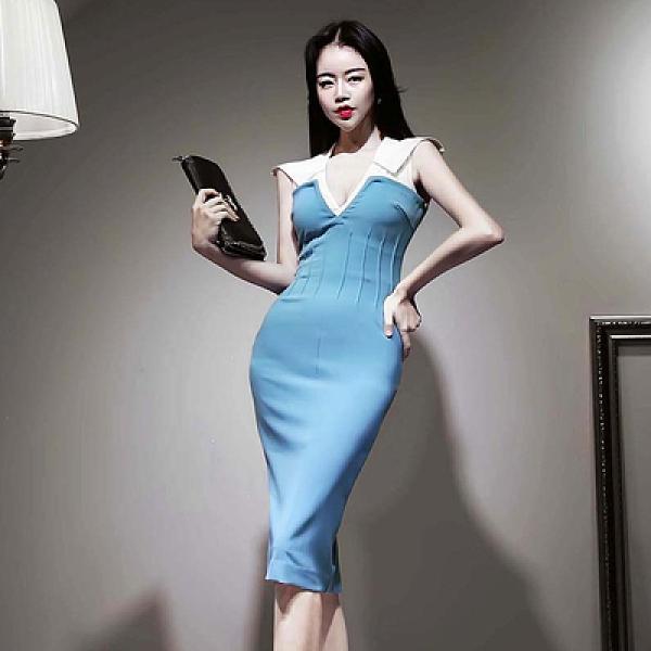洋裝OL連身裙S-XL3137#韓版女裝性感V領無袖撞色收腰顯瘦包臀連身裙NA07B快時尚