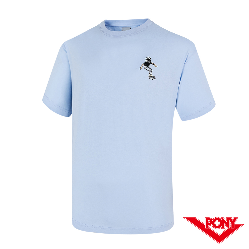 【PONY】滑板小人短袖T恤上衣 中性款-藍