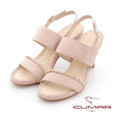 【CUMAR】鍊條兩截式一字帶高跟涼鞋-粉紅