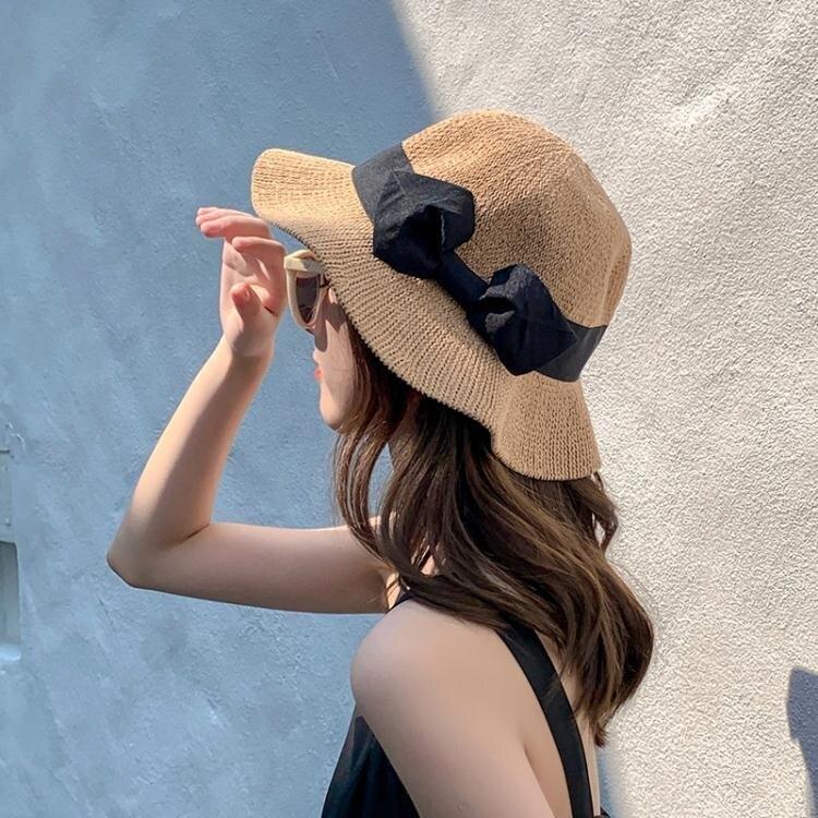 蝴蝶結草帽女沙灘出游度假韓版潮遮陽防曬帽夏季海邊可折疊太陽帽 摩可美家