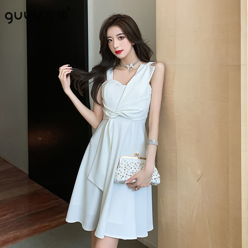 設計感無袖洋裝白色 S-XL赫本洋裝收腰A字裙及膝連衣裙宴會小禮服
