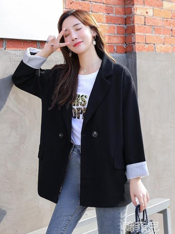 西裝外套 網紅小西裝外套女春秋新款韓版寬鬆休閒英倫風套裝黑色西服 母親節新品