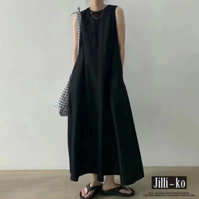 JILLI-KO 日系棉麻感連衣背心裙- 杏/黑