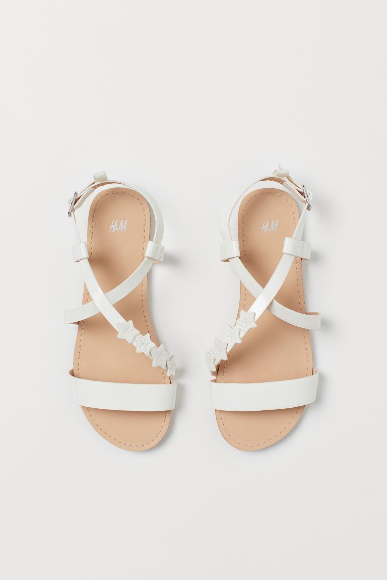 H & M - 金蔥涼鞋 - 白色