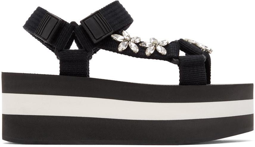 Marni 黑色 Embellished 凉鞋