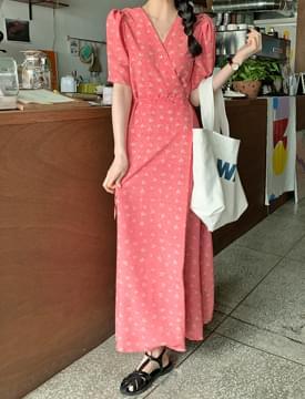 韓國空運 - Floret Puff Wrap Long Dress 長洋裝