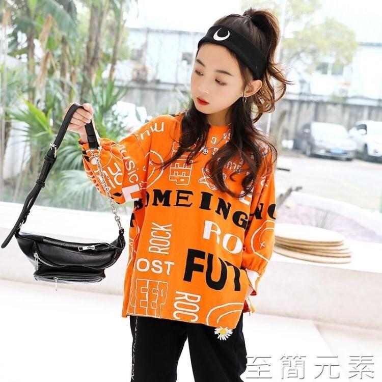 女童T恤長袖春裝新款韓版兒童中大童洋氣網紅寬鬆上衣春秋潮