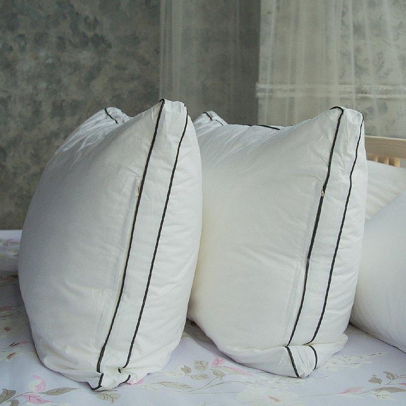 3D立體雙車邊可水洗羽絲絨枕/純棉表布(附不織布收納袋)