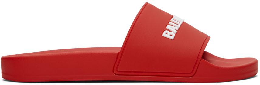 Balenciaga 红色徽标拖鞋