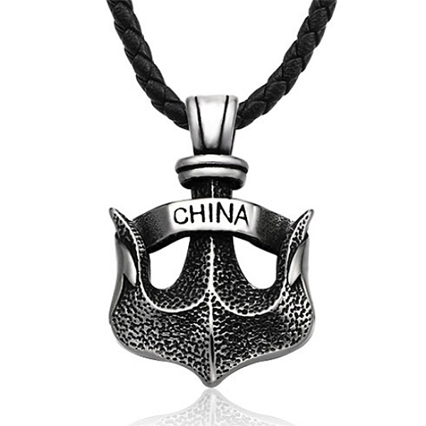 《QBOX 》FASHION 飾品【CBP8-536】精緻個性復古立體船錨鑄造鈦鋼墬子項鍊/掛飾