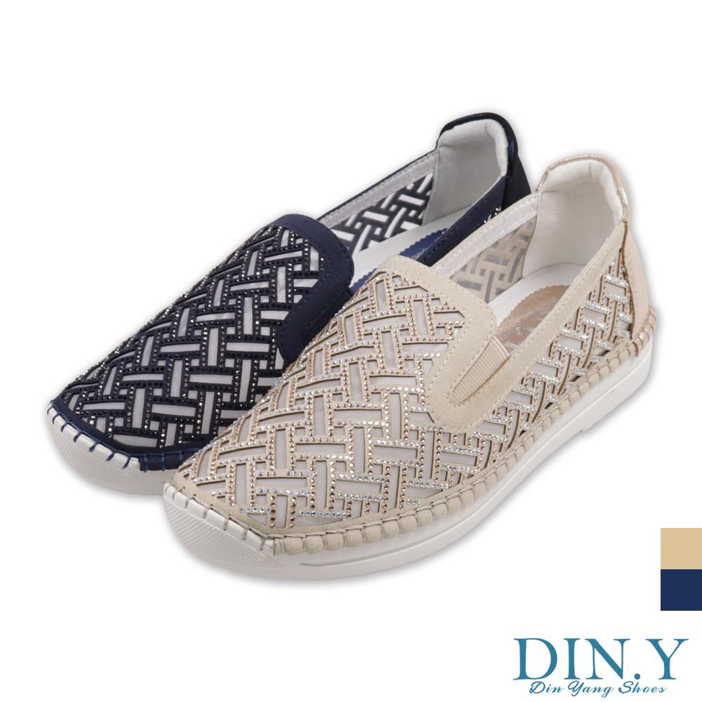 DIN.Y / S221-00 / 透膚鑲鑽款真皮休閒包鞋(藍、金) 厚底鞋/真皮鞋/水鑽/懶人鞋/ 3.5cm高/女鞋
