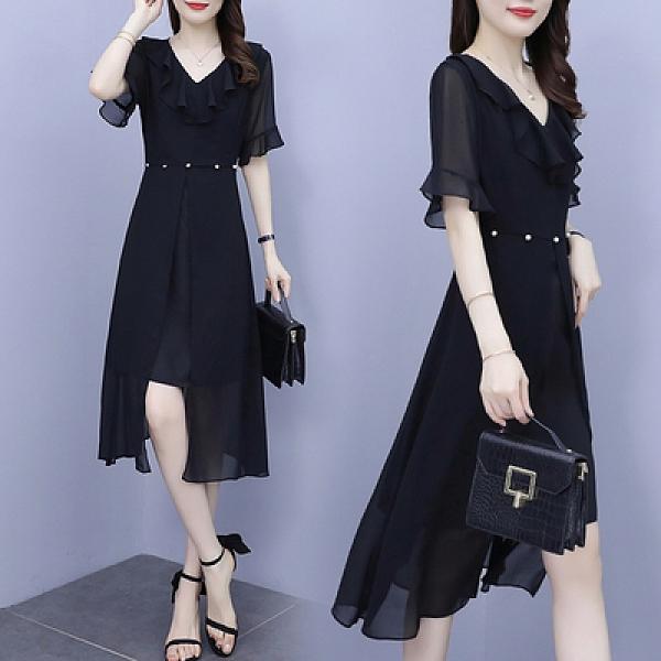大碼連身裙夏季新款胖mm荷葉邊雪紡喇叭袖顯瘦氣質裙子M031快時尚