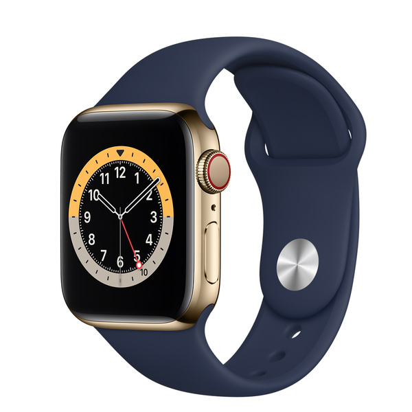 Apple Watch Series 6 (GPS + 行動網路);40 公釐金色不鏽鋼錶殼;海軍深藍色運動型錶帶 - 標準