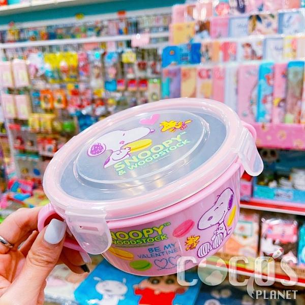 史奴比 史努比 SNOOPY 304不鏽鋼 不銹鋼 隔熱碗 環保碗 兒童碗 保鮮盒碗 粉色款 COCOS SN110