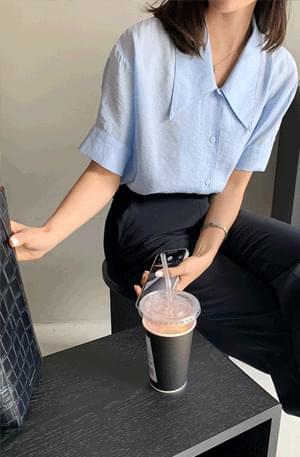 韓國空運 - Silky Rayon Collar Short Sleeve Shirt 襯衫