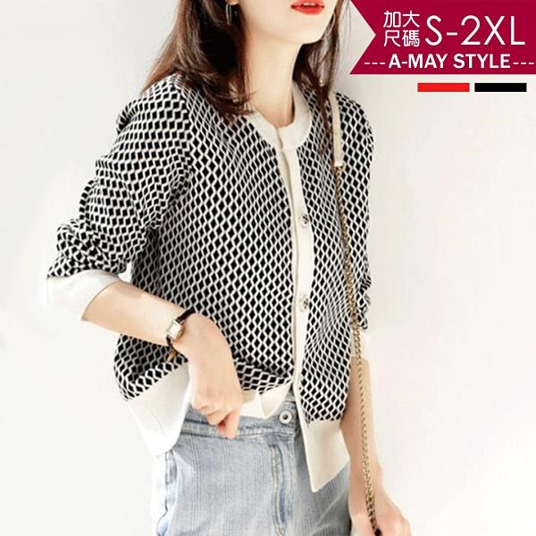 中大尺碼-知性菱格羊毛拼色針織外套(S-2XL)