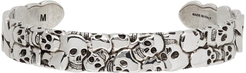 Alexander McQueen 银色 Multi Skull 手镯