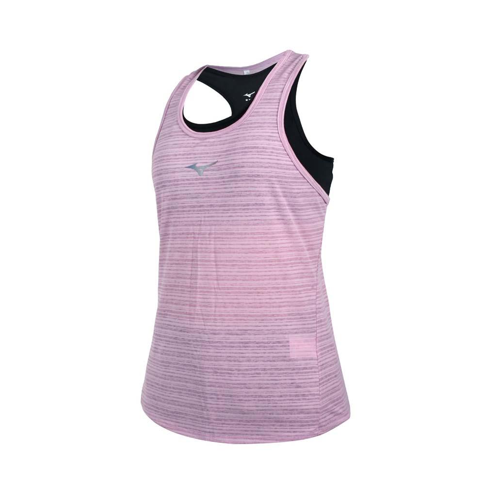 MIZUNO 女兩件式瑜珈背心-台灣製 運動內衣 BRA 上衣 反光 美津濃 藕紫銀黑