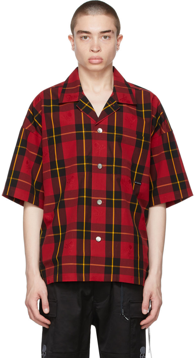 mastermind WORLD 红色 Block 格纹短袖衬衫