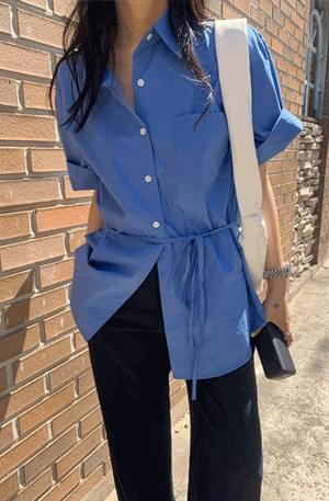 韓國空運 - Ocean Boxy-fit Strap Short Sleeve Shirt 襯衫