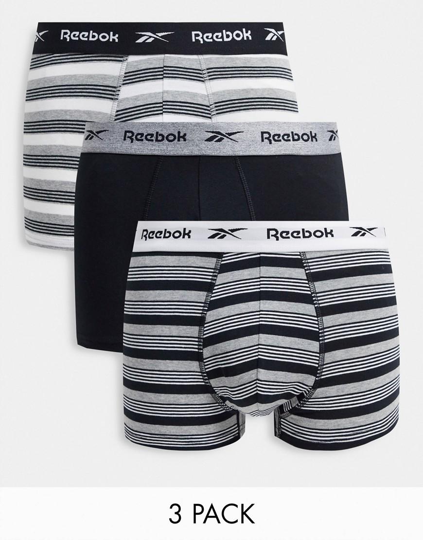Reebok 3 pack boxers in black stripe