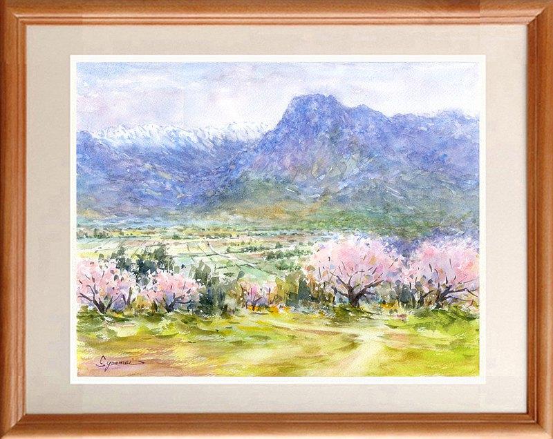安zu野市原創水彩畫《春天》