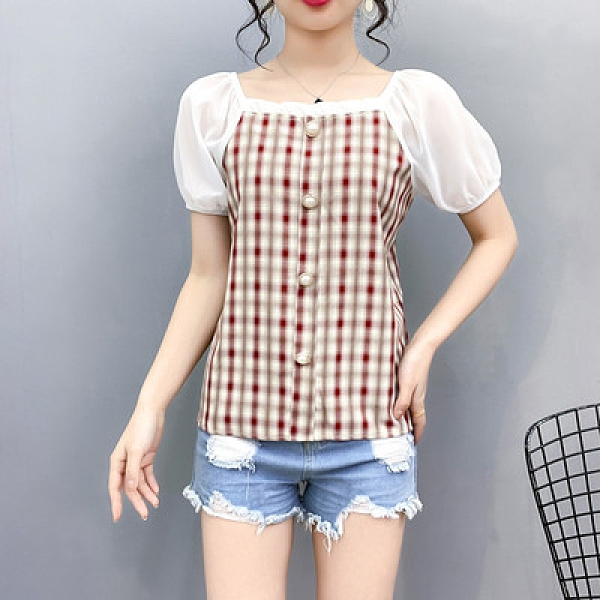 L-4XL大碼女裝襯衣拼接格子上衣200斤半袖雪紡衫寬松8805MR11-D1胖妞衣櫥