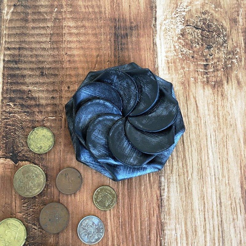 英國bri繩皮革一鍵式硬幣盒黑色