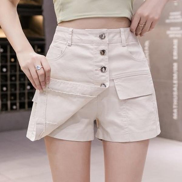 牛仔褲 短褲 不規則假兩件牛仔短褲裙女裝時尚氣質A字裙高腰闊腿熱褲NA69C.8777胖胖唯依