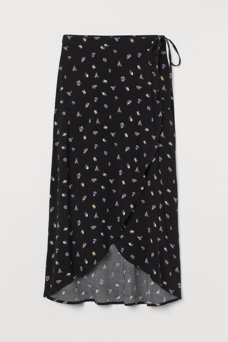 H & M - 交疊式中長裙 - 黑色