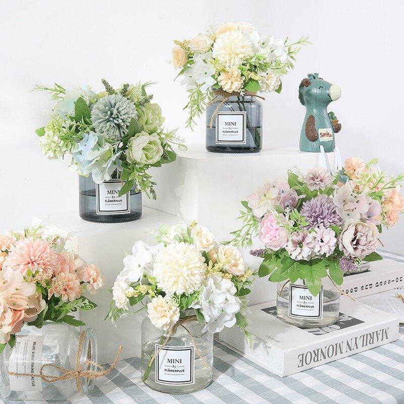 北歐ins小仿真繡球玫瑰花客廳餐桌擺件清新插花藝家居裝飾干花1 愛尚優品