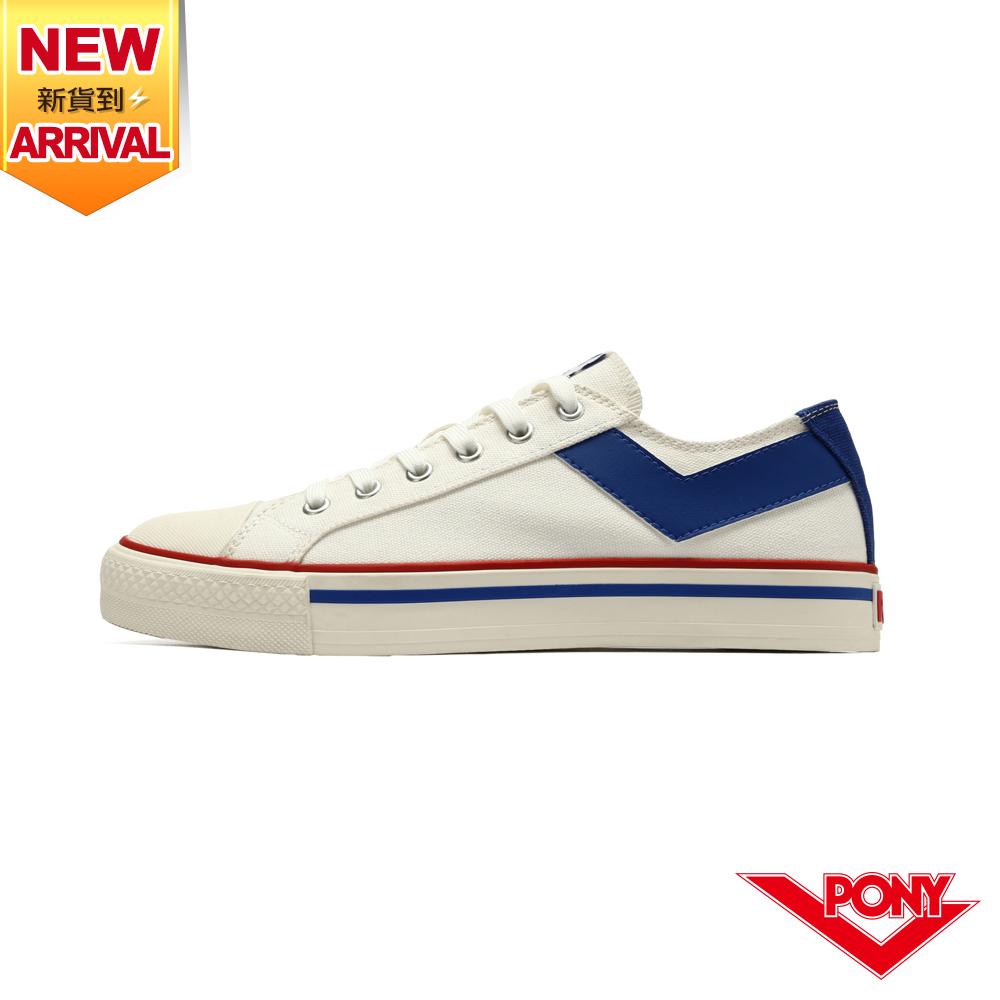 【PONY】Shooter 復古經典帆布鞋 女鞋-白藍
