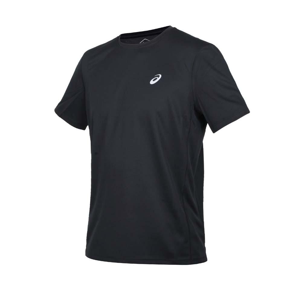 ASICS 男短袖T恤-運動 慢跑 路跑 上衣 吸濕排汗 亞瑟士 黑銀