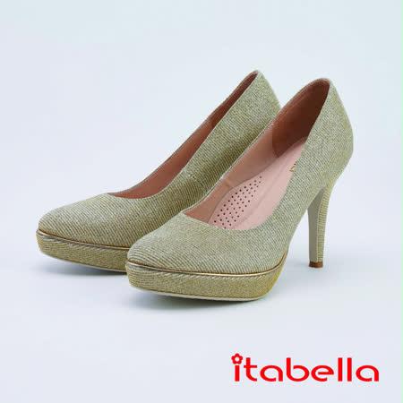 itabella細條紋金蔥布面閃亮高跟鞋(1225-A5金色)