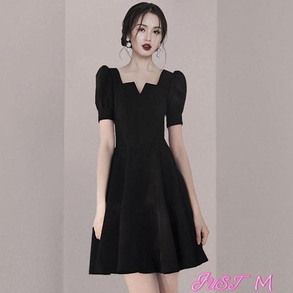 小禮服黑色小禮服女2021夏季新款赫本風平時可穿法式復古氣質顯瘦連身裙 JUST M