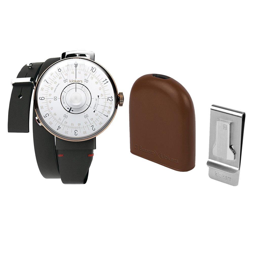 klokers【庫克錶】KLOK-08-D1 白軸+IL BUSSETTO x KLOKERS BELL皮革懷錶套組 | 錶徑39mm