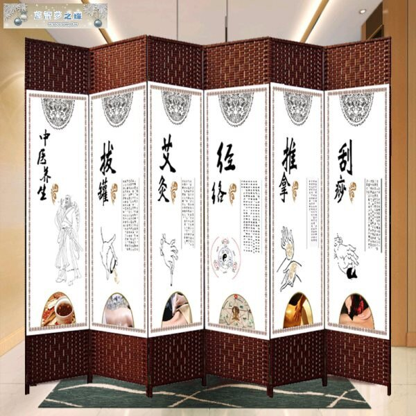 中醫養生美容院屏風客廳推拉房間隔斷墻折疊移動屏障簾簡約現代1 愛尚優品