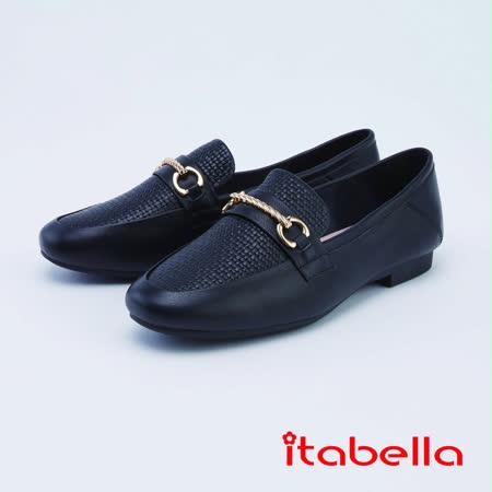 itabella經典真皮麻花金屬飾扣紳士鞋(1212-90黑色)